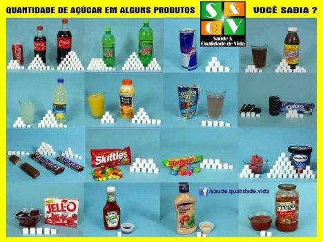 Quantidade de açúcar em alguns produtos industrializados