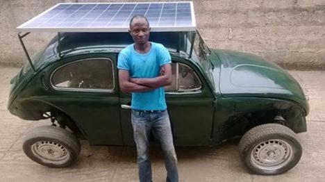 Nigeriano transforma fusca em carro movido a energia solar e eólica